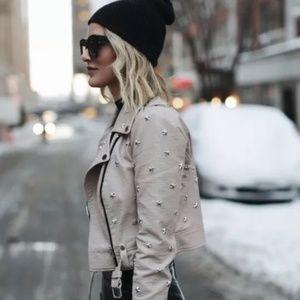 Bebe Beige Nude Star Studded Leather Moto Jacket